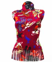 SSEY MIYAKE Pleats Please Foral Fringe Top sz3