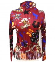 ISSEY MIYAKE Pleats Please Floral Fringe Top sz3