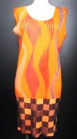ISSEY MIYAKE Pleats Please Orange Wave dress sz4