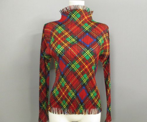 ISSEY MIYAKE Pleats Please Check Fringe Top sz3