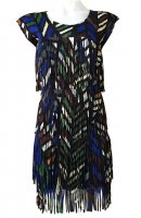 ISSEY MIYAKE Pleats Please Breathing Leaves Series Fringe Dress sz3 NEW WITH TAGS