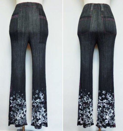 ISSEY MIYAKE Pleats Please Flower Denim Pants z4