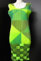 ISSEY MIYAKE Pleats Please Green Diagram Dress sz4